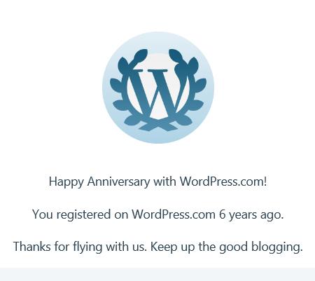 WordPress anniversary badge for six years on WordPress