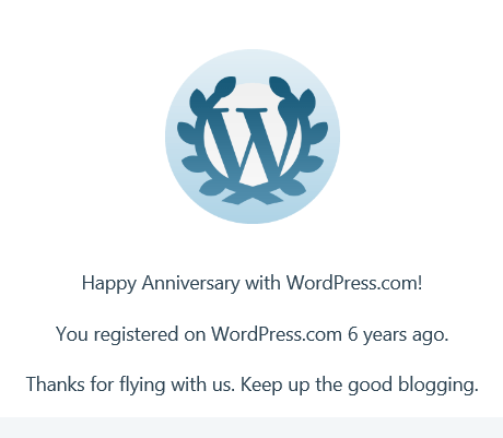 WordPress anniversary badge for six years on WordPress